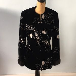 Chetta B velvet embroidered jacket with mink cuffs